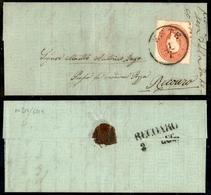 10035 LOMBARDO VENETO - Este 1.7.62 - 5 Soldi Rosso (33) Isolato Su Letterina Con Carta Filigranata Per Recoaro - Molto  - Stamps