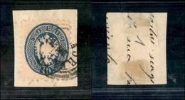 10044 LOMBARDO VENETO - 1864 - 10 Soldi Azzurro (44) Su Frammento (35) - Stamps