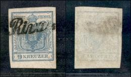 """10048 LOMBARDO VENETO - 1850 - 9 Kreuzer Azzurro (5 - Austria) Delle Prime Tirature - Corsivo """"Riva"""" - Splendido - Stamps"""