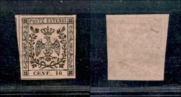 10055 MODENA - 1852 - 10 Cent Rosa Chiaro (2) - Leggerissimo Annullamento Laterale - Molto Bello (125) - Unclassified