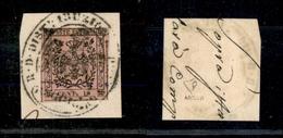 10056 MODENA - 1852 - 10 Cent Rosa Vivo (2a) Su Frammento - Bollo Distribuzione (180) - Stamps