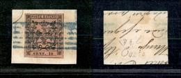 10057 MODENA - 1852 - 10 Cent Rosa Vivo (2a) Su Frammento - Diena (180) - Unclassified