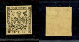 10059 MODENA - 1852 - 15 Cent Giallo (3) Nuovo Con Gomma - Leggera Traccia Di Linguella (140+) - Stamps