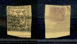 10060 MODENA - 1852 - 15 Cent Giallo (3) Bordo Di Foglio Usato (50+) - Stamps