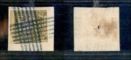 10062 MODENA - 1852 - 15 Cent Giallo (3) Bordo Di Foglio - Su Frammento Con Sbarre Incrociate (azzurre) - Stamps