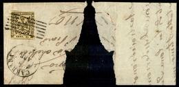 10063 MODENA - 1852 - 15 Cent Giallo (3) Su Parte Di Letterina Da Carrara 9.4 + Sbarre (60+) - Stamps
