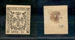 10065 MODENA - 1852 - 25 Cent Camoscio (4) Lieve Assottigliamento Al Centro (350) - Stamps