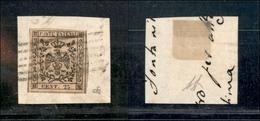 10068 MODENA - 1852 - 25 Cent Camoscio Chiaro (4) Su Frammento - Annullo A Sbarre - Diena (90) - Unclassified