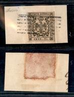10069 MODENA - 1852 - 25 Cent Camoscio Chiaro (4) Su Frammento - Annullo A Sbarre - (90) - Unclassified