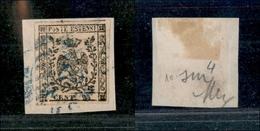 10071 MODENA - 1852 - 25 Cent Camoscio Chiarissimo Rosaceo (4b) Su Frammento (90+) - Stamps
