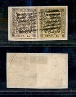 10072 MODENA - 1852 - 25 Cent + 15 Cent (3+4) Su Frammento - Annullo A Sbarre (165) - Stamps