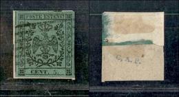 10074 MODENA - 1852 - 5 Cent Verde Oliva (8) Su Parte Di Frammento (275) - Stamps