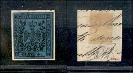 10076 MODENA - 1852 - 40 Cent Azzurro Scuro (10) Su Frammento (210) - Unclassified