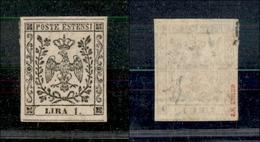 10077 MODENA - 1854 - 1 Lira Bianco (11) Con Punto Dopo La Cifra - Nuovo Con Gomma - Unclassified