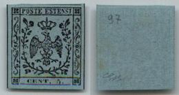 10082 MODENA - 1852 - Prove - 5 Cent Celeste Chiaro (P22) Senza Gomma - Molto Bello (300) - Stamps