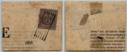 10084 MODENA - 1853 - 9 Cent Violetto Grigio (2 Segnatasse Giornali) Su Frammento - Grandi Margini - Molto Bello (145) - Stamps