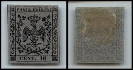 10085 MODENA - 1857 - 10 Cent Grigio Violaceo (4 Segnatasse Giornali) Nuovo Con Gomma (120) - Unclassified