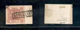 10087 NAPOLI - 1859 - 1 Grano Rosa Carminio (4) - Grandi Margini - Bellissimo - G.Bolaffi (95+) - Stamps
