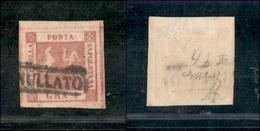 10088 NAPOLI - 1859 - 1 Grano Rosa Carminio Vivo  (4b) - Grandi Margini - Lusso -cert. G.Bolaffi (130++) - Stamps