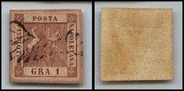10090 NAPOLI - 1858 - 1 Grano Carminio Scuro (4c) Annullo A Svolazzo (160) - Stamps