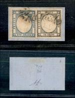 10113 NAPOLI - PROVINCE NAPOLETANE - 1861 - 1 Grano Nero + 2 Grana Azzurro Chiaro (19+20) Su Frammento - Annullati Con S - Stamps