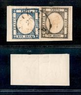 10114 NAPOLI - PROVINCE NAPOLETANE - 1861 - 1 Grano Grigio Scuro + 2 Grana Azzurro Scuro (19a+20d) Su Frammento - Stamps