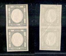 10119 NAPOLI - PROVINCE NAPOLETANE - 1861 - 50 Grana Grigio Perla (24) Coppia Verticale - Leggera Piega Diagonale - Gomm - Unclassified