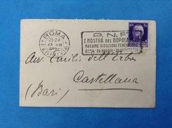 STORIA POSTALE 50 CENT IMPERIALE SU BIGLIETTO DA VISITA MINISTERO AGRICOLTURA E FORESTE ANNULLO PNF 1938 - 1900-44 Vittorio Emanuele III