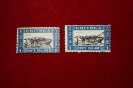 ERITREA  - PITTORICA - 1L  DUE VALORI- 1930 - USATO - Eritrea