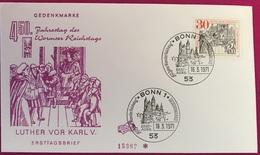 FDC Worms Reichstag Jahrestag, Luther Vor Karl V, Gedenkmarke, Sonderstempel Mit Burg 18.3.1971 - FDC: Covers