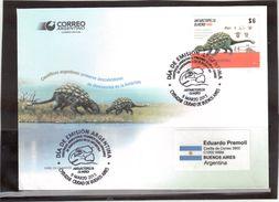 "CP02 - ARGENTINE 3071 De 2015 ""ANTARCTOPELTA OLIVEROI "" Dinosaurios, 1er Jour 9 MARZO 2015. - Argentina"