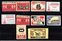 Lucifer Merken 10x : Co-op, Butterfly, Zijlstra, Boerhave, Aveha, Edah, Foxy - Luciferdozen - Etiketten