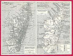 Carte Physique Et Carte économique De Madagascar Larousse 1948 - Autres