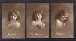 Lot De 3 CPA Enfant Fillette Habillée Et Coiffée Avec élégance - Pretty Girl - Photo - Portraits