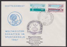 Fishing Poisson Angeln Weltmeisterschaft C.I.P.S. 1961, Mit SSt. Staatswappen Im Stempel, Cachet Or.-Büro - Hiver