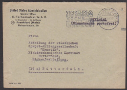 "Frankfurt (Main) Unidet States Administration Control Office Dienstsache MWSt ""Verkehrserziehungswoche"" Polizist 1947 - American,British And Russian Zone"