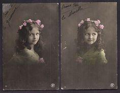 Lot De 2 CPA Enfant Fillette Habillée Et Coiffée Avec élégance Couronne De Fleurs - Pretty Girl - Photo - Portraits