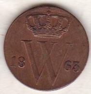 Netherlands.  1/2 Cent 1863 . William III . KM# 90 - [ 3] 1815-… : Royaume Des Pays-Bas