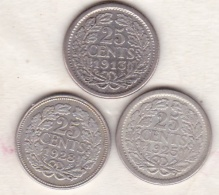 Netherlands.  25 Cents 1913- 1925 - 1928 - . Wilhelmina I. Argent . KM# 164 - [ 3] 1815-… : Royaume Des Pays-Bas