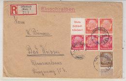 R-Brief Mit Ua. Zusammendruck Aus Offenbach 8.8.41 Nach Bad Wiessee - Germany