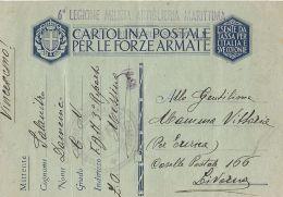 FRANCHIGIA MILITARE WWII 1943 MILIZIA ARTIGLIERIA MARITTIMA MESSINA X LIVORNO - Correo Militar (PM)