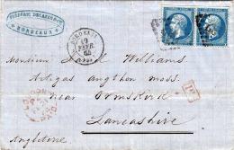 R ! France 1864 - Magnifique 20 + 20 C Affranchissement Sur Lettre Pliée Avec Contenu, 8 Timbres, Timbre BOURDEAUX >  - 1863-1870 Napoleon III With Laurels