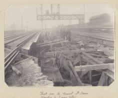 Ancien Pont Du Canal Saint Denis, Démolition, Janv. 1912. Rue A. Croizat.Quadruplement Des Voies Paris. Photo Originale - Trains