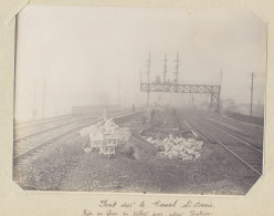 Pont Du Canal Saint Denis, Construction, Tabliers. Janv 1914. Rue A. Croizat.Quadruplement Voies Paris. Photo Originale - Trains