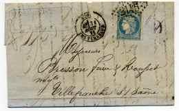 Dernier Jour Du Tarif à 20c /  31 Aout 1871 - LYON Les Terreaux /  Ceres Dit Du Siège - Marcophilie (Lettres)