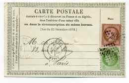 Carte Précurseur CPO / T17 LILLE + Losange GC 2046 Sur Aff Composé Au Type CERES  YT 53 + 54 / Dept 57 NORD /1873 - Marcophilie (Lettres)
