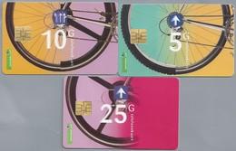 NL.- 3 X Telefoonkaart.- Nederland. PTT Telecom. 5, 10 En 25 Gulden. Fietsen. City Bike - Sport