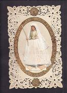 CPA Carte Postale Ajourée Image Pieuse Chromo Ajoutis Robe Pliage Papier Relief Système Souvenir De Première Communion - Christianity