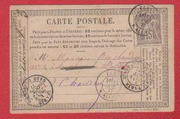 Carte Postale Départ Paris  -- Oct 1877  --  Trou - Entiers Postaux
