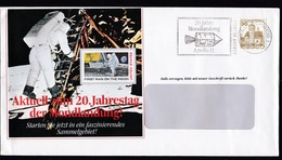 Germany: Advertorial Cover, 1988, 1 Stamp, Cancel Moon Landing, Apollo, Space, Rocket (traces Of Use) - [7] West-Duitsland